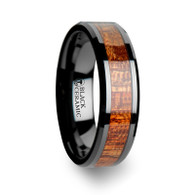 MASKA Mahogany Wood Black Ceramic Ring Beveled