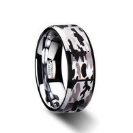 CROCKETT Black and Gray Camouflage Tungsten Wedding Band