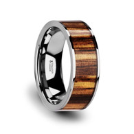 ZAHARA Real Zebra Wood Flat Tungsten Carbide Anniversary Band