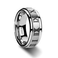 DECIMUS Roman Numeral Engraved Tungsten Spinner Ring with Raised Center