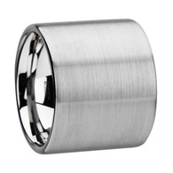 COLE Ultra Wide Flat Pipe Cut Tungsten Ring Brushed Finish
