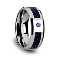 COLDEN Black-Blue Carbon Fiber Tungsten Wedding Ring with Blue Diamond
