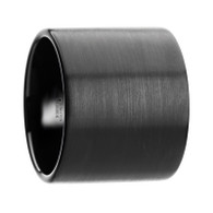 QUILO Super Wide Brushed Finish Flat Pipe Cut Black Tungsten Band