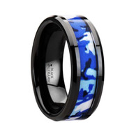 SHIVA Blue White Camo Black Ceramic Ring with Beveled Edge