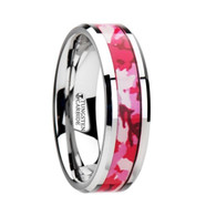 XENA Hot Pink Camouflage Inlay Tungsten Ring