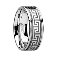 MEANDROS Greek Key Meander Grooved Tungsten Ring