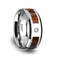 AKELLA Hawaiian Acacia Koa Wood Tungsten Wedding Anniversary Ring with Diamond