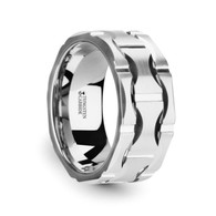 CORDOBA Wavy Grooved Pattern Brushed Tungsten Ring