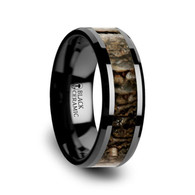 HAUZER Black Ceramic Band with Dinosaur Bone Inlay