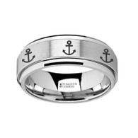 HARPE Nautical Theme Ship Anchor Engraved Tungsten Spinner Ring