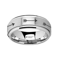LOWTHER Arrow Pattern Engraving Raised Center Tungsten Spinner Ring