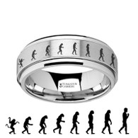 HALSEY Evolution of Man Engraved Tungsten Carbide Spinner Ring