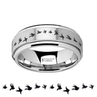 COCKLYN Flock of Flying Birds Engraving Tungsten Carbide Spinner Ring