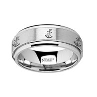 EVERTSEN Tungsten Spinner Ring with Nautical Anchor Pattern Engraving