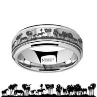 COLCORD Intricate Wild Horses Scene Tungsten Carbide Spinner Ring