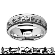 RENNICK Grazing Deer Stags with Mountain Range Tungsten Spinner Ring