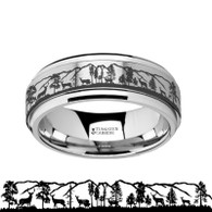 IKARD Mountain Range with Deer Landscape Tungsten Carbide Spinner Band