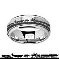 PICKETT Cowboy Cattle Herd Engraved Tungsten Spinner Ring