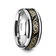 LEIF Celtic Pattern Tungsten Ring with Black Center and Grooved Edge