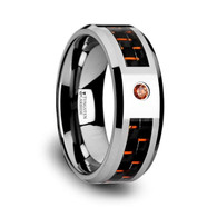 BERTSON Orange Padparadscha Black Carbon Fiber Inlay Tungsten Ring