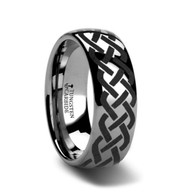 GRETHEL Celtic Knot Engraved Domed Tungsten Ring
