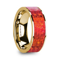 REDWAY Red Opal Inlay 14K Yellow Gold Wedding Band, Engagement Ring