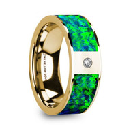 FORESTRY Green Blue Opal Inlay 14K Yellow Gold Ring with Diamond