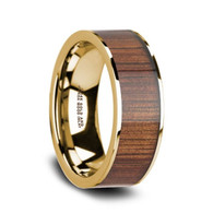 NOHEA Rare Koa Wood 14K Yellow Gold Engagement Wedding Ring