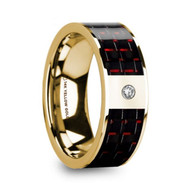NORTHSTAR Black Red Carbon Fiber 14K Yellow Gold Ring with Diamond