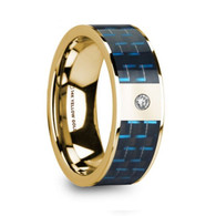 FLOODLINE Blue Black Carbon Fiber Inlay 14K Yellow Gold Ring with Diamond