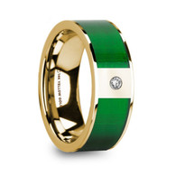 MAEDA 14K Yellow Gold Ring with Green Inlay and Diamond