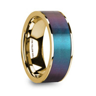 MEDICI Blue Purple Color Changing Inlay 14K Yellow Gold Ring