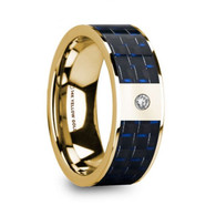 MILLEN Blue Black Carbon Fiber Inlay Gold 14K Wedding Ring with Diamond