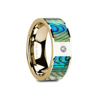ALYX Mother of Pearl 14K Yellow Gold Wedding Band with Diamond
