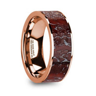 GLENROCK Red Dinosaur Bone 14K Rose Gold Wedding Ring, Flat, Polished Edges