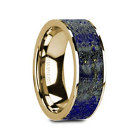 CREEKMORE Blue Lapis Lazuli 14K Yellow Gold Ring, Flat, Polished Edges