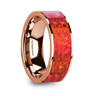 HARROD Red Opal Inlay Rose Gold Ring, 14K, Flat, Polished Edges