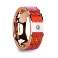 FRIONA Red Opal Inlay 14K Rose Gold Wedding Band with White Diamond