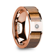 HADDIX Zebra Wood Inlay Rose Gold Wedding Ring with White Diamond