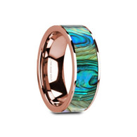 DUSHORE Mother of Pearl Inlay Rose Gold Ring, 14K, Polished Edges