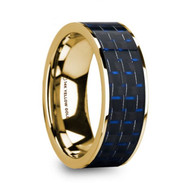 GILSUM Blue Black Carbon Fiber Inlay Gold Ring, 14K, Flat, Polished Edges