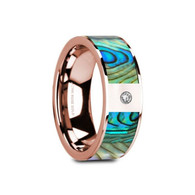 CLEONA Mother of Pearl Rose Gold Wedding Band with Diamond, 14K