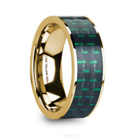 FLORIEN Green Black Carbon Fiber Inlay Yellow Gold Ring, Flat
