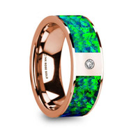 KASOTA Green Blue Opal Inlay Rose Gold Wedding Ring with Diamond