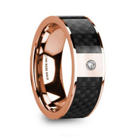 KENMARE Black Carbon Fiber Inlay Rose Gold Ring with Diamond, 14K