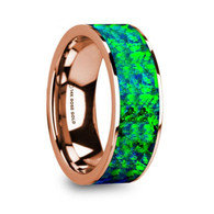 JEMISON Green Blue Opal 14K Rose Gold Ring, Flat, Polished Edges