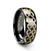 CRIMORA Celtic Knot Pattern on Domed Black Tungsten Ring