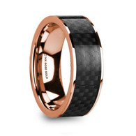 GUYMON Black Carbon Fiber Inlay 14K Rose Gold Ring, Flat, Polished Edges