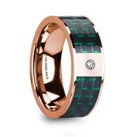 GOTEBO Black Green Carbon Fiber Inlay Rose Gold Ring with Diamond, 14K