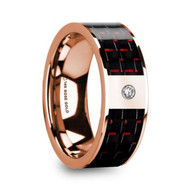 GASQUET Black Red Carbon Fiber Inlay Rose Gold Wedding Band with Diamond, 14K